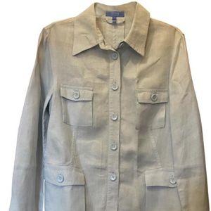 Escada Light Blue 100% Linen Shirt  Size 10 M